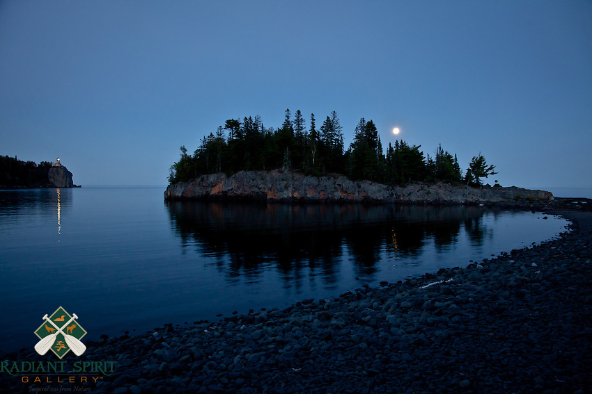 """Blue Moon at Split Rock Lighthouse""<br /> <br /> The August blue moon rises over Ellingsen Island as Split Rock Lighthouse illuminates Lake Superior."