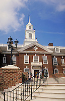 red brick legislative building at state capitol complex in Dover, Delaware.