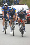 Julien Bernard (FRA) Trek-Segafredo with Mikkel Honoré (DEN) and Josef Cerny (CZE) Deceuninck-QuickStep on his wheel during Stage 5 of the Itzulia Basque Country 2021, running 160.2km from Hondarribia to Ondarroa, Spain. 9th April 2021.  <br /> Picture: Luis Angel Gomez/Photogomezsport | Cyclefile<br /> <br /> All photos usage must carry mandatory copyright credit (© Cyclefile | Luis Angel Gomez/Photogomezsport)