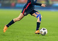 BREDA, NETHERLANDS - NOVEMBER 27: Kelley O'Hara #5 of the USWNT dribbles during a game between Netherlands and USWNT at Rat Verlegh Stadion on November 27, 2020 in Breda, Netherlands.