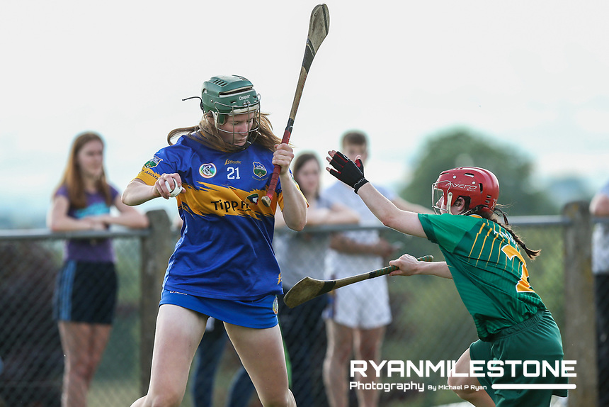 Tipperary's Miriam Campion in action against Sofia Payne of Meath during the Liberty Insurance All Ireland Senior Camogie Championship Round 1 between Tipperary and Meath at the Ragg, Co Tipperary. Photo By Michael P Ryan.