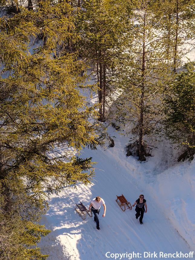 Wintersport bei Untermarkter Alm im Ski-Gebiet Hochimst bei Imst, Tirol, Österreich, Europa