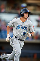Lake County Captains shortstop Luke Wakamatsu (12) runs to first base during a game against the Quad Cities River Bandits on May 6, 2017 at Modern Woodmen Park in Davenport, Iowa.  Lake County defeated Quad Cities 13-3.  (Mike Janes/Four Seam Images)