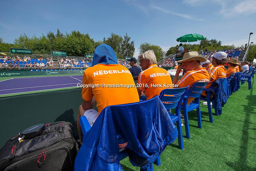 Moscow, Russia, 16 th July, 2016, Tennis,  Davis Cup Russia-Netherlands, Doubles : Dutch supporting team watching<br /> Photo: Henk Koster/tennisimages.com