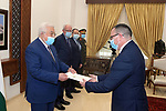Palestinian President Mahmoud Abbas, receives the Credentials of the Nicaraguan Ambassador to the State of Palestine, in the West Bank city of Ramallah, on March 9, 2021. Photo by Thaer Ganaim