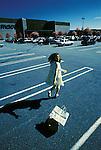 Woman running from unseen pursuer