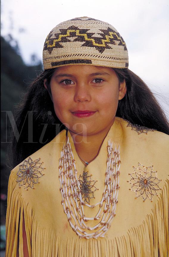 NATIVE-AMERICAN YUROK GIRL. YUROK GIRL. KLAMATH CALIFORNIA USA.