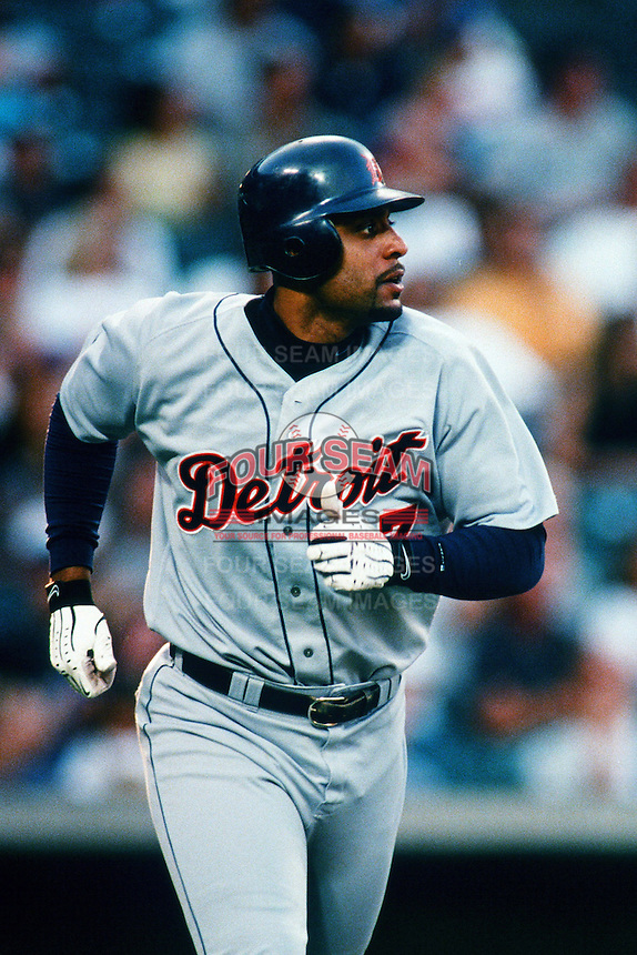 Tony Clark of the Detroit Tigers during a game against the Anaheim Angels at Angel Stadium circa 1999 in Anaheim, California. (Larry Goren/Four Seam Images)