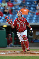 Clearwater Threshers catcher Andrew Knapp (5) looks for a pop up foul ball during a game against the Tampa Yankees on April 21, 2015 at Bright House Field in Clearwater, Florida.  Clearwater defeated Tampa 3-0.  (Mike Janes/Four Seam Images)