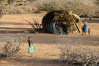 KENYA, Marsabit, Samburu village Hargura , traditional hut / KENIA, Marsabit, Samburu Dorf Hargura, traditionelle Huette