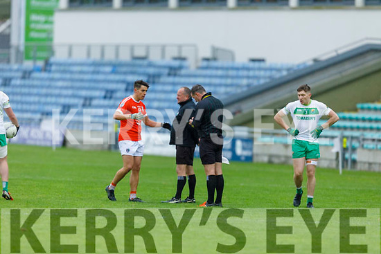 Dee McAuliffe of Brosna receives his marching orders from referee Jonathan Griffin against  Ballydonoghue's in the Premier Junior Football Championship Semi-Final