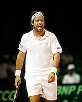 21-9-07, Netherlands, Rotterdam, Daviscup NL-Portugal, Raemon Sluiter laat zijn emoties de vrije loop