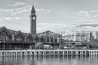The Erie Lackawanna Terminal and Clock Tower showing the parking lot and entrance to the waiting room, Hoboken, New Jersey.