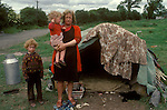 Irish Travellers family grand mother children with Bender sleeping accommodation West Coast Southern Ireland Eire