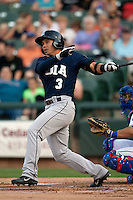 New Orleans Zephyrs outfielder Chris Aguila #3 swings during the Pacific Coast League baseball game against the Round Rock Express on April 30, 2012 at The Dell Diamond in Round Rock, Texas. The Zephyrs defeated the Express 5-3. (Andrew Woolley / Four Seam Images)