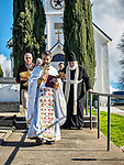 Procession of the priest and faithful from the church to the creek, January 19, 2018: Theophany and the Blessing of the Waters on January 6th of the old calendar at St. Sava Church, Jackson, Calif. on a wet and rainy day.