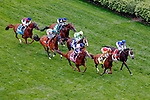 LOUISVILLE, KY - MAY 07: The field passes the grandstands for the first time during the Churchill Distaff Turf Mile on May 7, 2016 in Louisville, Kentucky. Tepin #1, ridden by Julien Leparoux, won the race. (Photo by Jon Durr/Eclipse Sportswire/Getty Images)