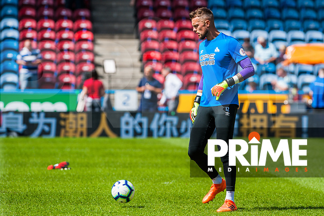 Huddersfield Town's goalkeeper Ben Hamer (12) during the Premier League match between Huddersfield Town and Chelsea at the John Smith's Stadium, Huddersfield, England on 11 August 2018. Photo by Stephen Buckley / PRiME Media Images.