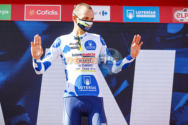 Race leader Rein Taaramäe (EST) Intermarché-Wanty-Gobert Matériaux also retains the mountains Polka Dot Jersey at the end of Stage 4 of La Vuelta d'Espana 2021, running 163.9km from Burgo de Osma to Molina de Aragon, Spain. 17th August 2021.    <br /> Picture: Luis Angel Gomez/Photogomezsport | Cyclefile<br /> <br /> All photos usage must carry mandatory copyright credit (© Cyclefile | Luis Angel Gomez/Photogomezsport)