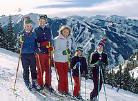 Ethel Kennedy and four of her childen ski at Aspen, December 1978. From left to right: Doug (11), Christopher (15), Ethel, Rory (10) and Max (14).  Photo by John G. Zimmerman