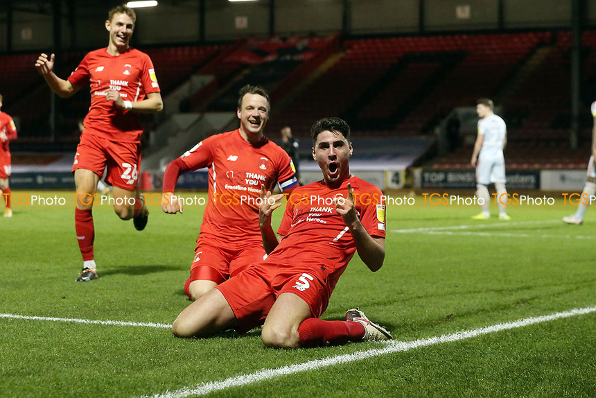 O's Dan Happe scoes and celebratesduring Leyton Orient vs Bradford City, Sky Bet EFL League 2 Football at The Breyer Group Stadium on 24th November 2020