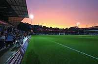 General view of Adams Park as the sun sets during the Capital One Cup match between Wycombe Wanderers and Fulham at Adams Park, High Wycombe, England on 11 August 2015. Photo by Andy Rowland.