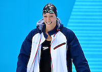 July 30, 2012..Breeja Larson arrives on deck to compete in Women's 100m Breaststroke Final at the Aquatics Center on day three of 2012 Olympic Games in London, United Kingdom.