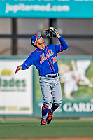 28 February 2019: New York Mets  top prospect infielder Andres Gimenez pulls in an infield fly for the second out of the 8th inning in a Spring Training game against the St. Louis Cardinals at Roger Dean Stadium in Jupiter, Florida. The Mets defeated the Cardinals 3-2 in Grapefruit League play. Mandatory Credit: Ed Wolfstein Photo *** RAW (NEF) Image File Available ***