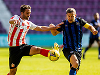 17th July 2021; Tynecastle Park, Edinburgh, Scotland;Pre Season Friendly Football, Heart of Midlothian versus Sunderland; Will Grigg of Sunderland FC and Peter Haring of Hearts compete for possession of the ball