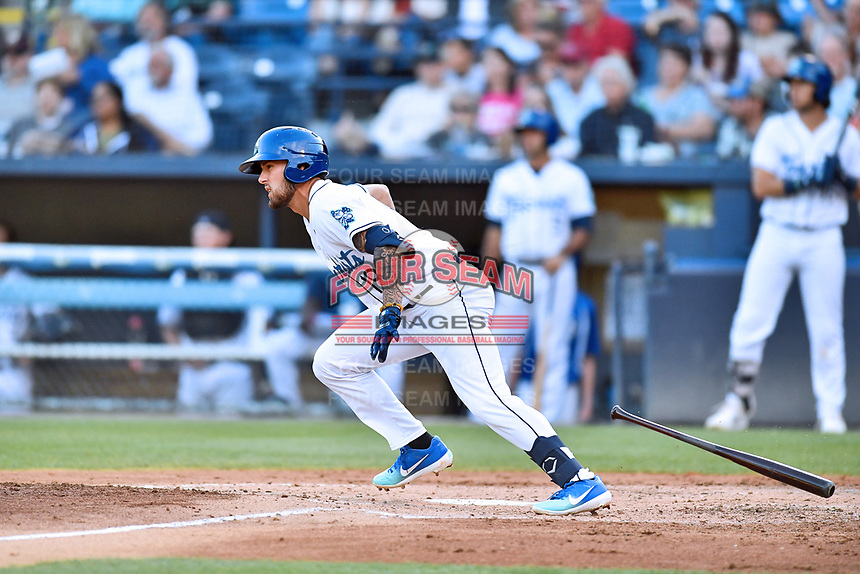 Asheville Tourists Niko Decolati (19) swings at a pitch during a game against the Lakewood BlueClaws at McCormick Field on June 14, 2019 in Asheville, North Carolina. The BlueClaws defeated the Tourists 7-5. (Tony Farlow/Four Seam Images)
