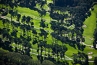 aerial photograph of a golf course in the Presidio, San Francisco, California