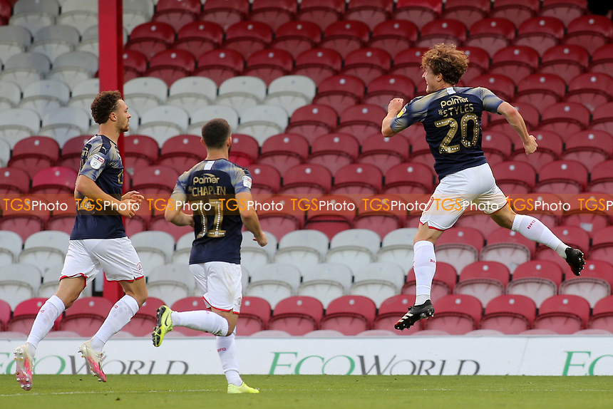 Callum Styles celebrates scoring Barnsley's opening goal during Brentford vs Barnsley, Sky Bet EFL Championship Football at Griffin Park on 22nd July 2020