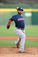 Pawtucket Red Sox pitcher Edwin Escobar (22) delivers a pitch during a game against the Buffalo Bisons on August 23, 2014 at Coca-Cola Field in Buffalo, New  York.  Buffalo defeated Pawtucket 15-2.  (Mike Janes/Four Seam Images)