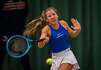 Wateringen, The Netherlands, December 8,  2019, De Rhijenhof , NOJK juniors 14 and18 years, Finals  girls 14 years  Isis van den Broek NED)<br /> Photo: www.tennisimages.com/Henk Koster
