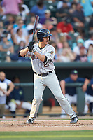 Mandy Alvarez (21) of the Charleston RiverDogs at bat against the Columbia Fireflies at Spirit Communications Park on June 9, 2017 in Columbia, South Carolina.  The Fireflies defeated the RiverDogs 3-1.  (Brian Westerholt/Four Seam Images)