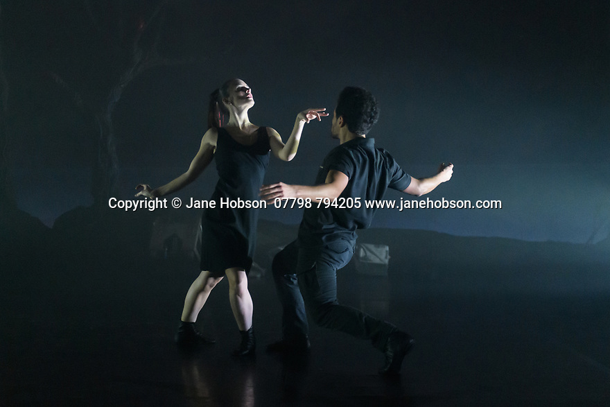 """London, UK. 27.02.20. Mark Bruce Company presents """"Return to Heaven"""", at Wilton's Music Hall. Written and choreographed by Mark Bruce, with costume design by Dorothee Brodruck, lighting design by Guy Hoare, and set design by Phil Eddolls. The dancers are: Jordi Calpe-Serrats, Eleanor Duval, Carina Howard, Dane Hurst, Sharol Mackenzie, Christopher Thomas. Picture shows: Eleanor Duval, Dane Hurst. Photograph © Jane Hobson."""