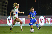 Gent's Jasmien Mathys (R) and OHL's Tine Schrijvers (L) pictured during a female soccer game between  AA Gent Ladies and Oud Heverlee Leuven on the 9th matchday of the 2020 - 2021 season of Belgian Scooore Womens Super League , friday 11 th of December 2020  in Oostakker , Belgium . PHOTO SPORTPIX.BE | SPP | DIRK VUYLSTEKE