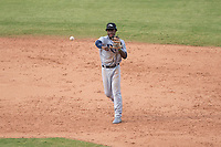 Peoria Javelinas shortstop Lucius Fox (5), of the Tampa Bay Rays organization, throws to first base during an Arizona Fall League game against the Mesa Solar Sox at Sloan Park on October 11, 2018 in Mesa, Arizona. Mesa defeated Peoria 10-9. (Zachary Lucy/Four Seam Images)
