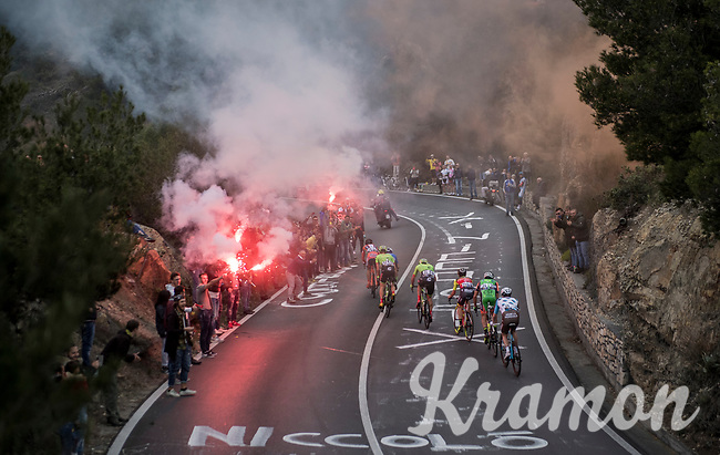 smoke bombs & fireworks for the breakaway group up the Capo Berta (38 km's before the finish)<br /> <br /> 108th Milano - Sanremo 2017