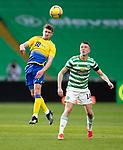 Celtic v St Johnstone…12.05.21  SPFL Celtic Park<br />Craig Bryson gets above David Turnbull<br />Picture by Graeme Hart.<br />Copyright Perthshire Picture Agency<br />Tel: 01738 623350  Mobile: 07990 594431