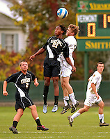 17 October 2007: The University of Maryland Retrievers' Ime Umoh (21), a Sophomore from Baltimore, MD, in action against the University of Vermont Catamounts at Historic Centennial Field in Burlington, Vermont. The Catamounts and Retrievers battled to a scoreless, double-overtime tie...Mandatory Photo Credit: Ed Wolfstein Photo