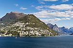 Switzerland, Ticino, View across Lago Lugano towards Castagnola and Monte Bre | Schweiz, Tessin, Blick ueber den Luganer See auf Castagnola und den Monte Bre