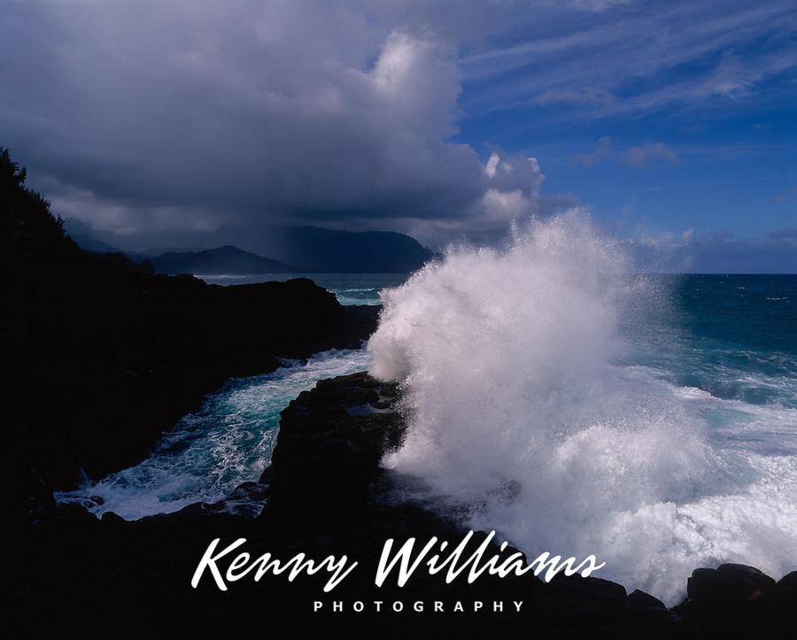 Waves Crashing against Rocky Coastline, Princeville, Kauai, Hawaii, USA.