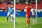 Rosenborg v St Johnstone....18.07.13  UEFA Europa League Qualifier.<br /> FRAZER WRIGHT CELEBRATES HIS GOAL AS KEEPER DANIEL ORLUND STARTS THE INQUEST<br /> Picture by Graeme Hart.<br /> Copyright Perthshire Picture Agency<br /> Tel: 01738 623350  Mobile: 07990 594431