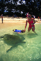 Snorkeling child on mother's hand seeing green sea turtle at Laniakea beach on Oahu's north shore