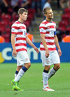 USA U20's William Trapp (L) and Caleb Stanko (R) during their FIFA U-20 World Cup Turkey 2013 Group Stage Group A soccer match USA U20 betwen Spain at the Kadir Has stadium in Kayseri on June 21, 2013. Photo by Aykut Akici/isiphotos.com