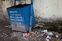 India, Rishikesh.  Trash Container with Anti-Plastic Slogan.