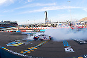 #11: Denny Hamlin, Joe Gibbs Racing, Toyota Camry FedEx Ground celebrates his win with a burnout