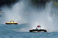 "13-14 June, 2009, APBA Inboards, Walled Lake, Novi, MI. USA.Mike Monohan, A-23 ""Geezerboat"", 2.5 Mod hydroplane, Tom Thompson, A-52 ""Fat Chance IV"", 2.5 Mod hydroplane.©F. Peirce Williams 2009 USA.F.Peirce Williams.photography.ref: RAW (.NEF) File Available"