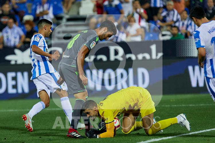 Leganes' Ivan Cuellar and Real Sociedad's Mikel Merino during La Liga match. August 24, 2018. (ALTERPHOTOS/A. Perez Meca)